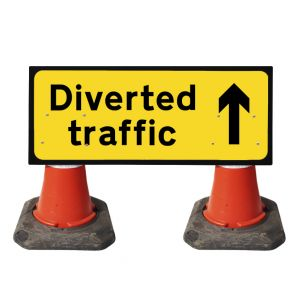 1050x450mm Cone Sign - Diverted Traffic with Arrow Straight on - 2703