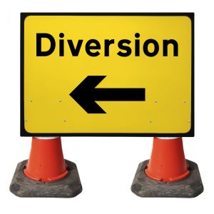 1050x750mm Cone Sign - Diversion with Arrow Left - 2702
