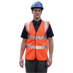 Pack of 10 - High Visibility Sleeveless Waistcoat 2-Band Orange