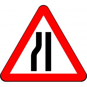 750mm Triangle - Road Narrows on Left Ahead