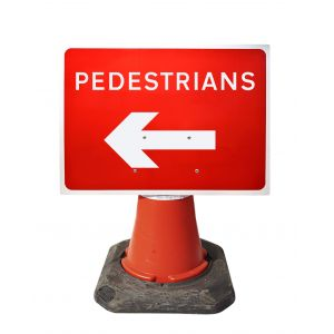 600x450mm Cone Sign - Pedestrians with Arrow Left - 7018