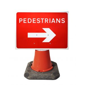 600x450mm Cone Sign - Pedestrians with Arrow Right - 7018