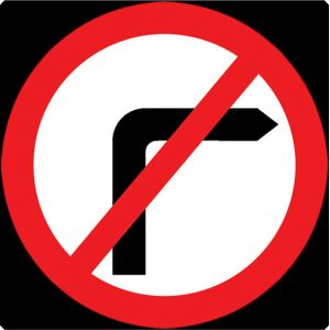 750mm No Right Turn - 612