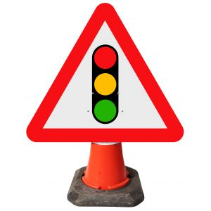 Triangle Cone Sign - Traffic Signals Ahead - 543