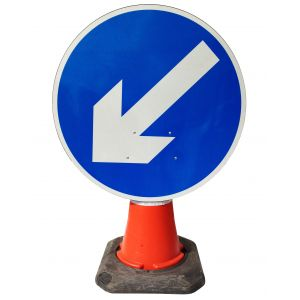 Circle Cone Sign - Directional Arrow Left - 610