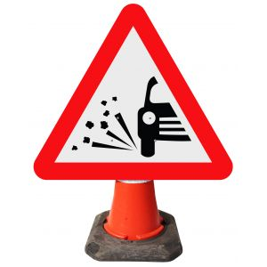 Triangle Cone Sign - Loose Chippings on Road Ahead - 7009
