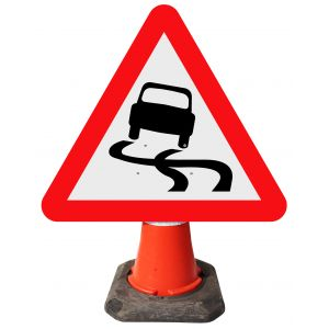 Triangle Cone Sign - Slippery Road Surface Ahead - 557