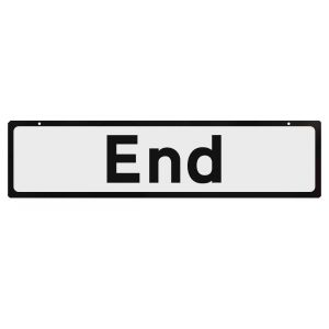 Supplementary plate to use with cone signs - End