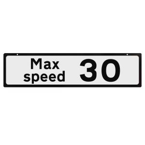 Supplementary Plate for Cone Signs - Max Speed 30