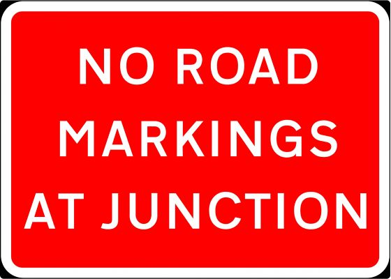 1050x750mm No Road Markings At Junction - 7012