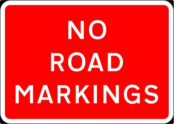 1050x750mm No Road Markings - 7012