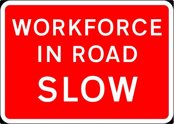 1050x750mm Workforce in Road SLOW - 7001.3