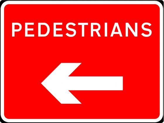 600x450mm Pedestrians with Arrow Left - 7018