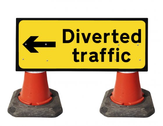 1050x450mm Cone Sign - Diverted Traffic with Arrow Left - 2703