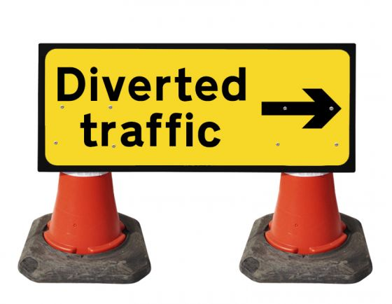 1050x450mm Cone Sign - Diverted Traffic with Arrow Right - 2703
