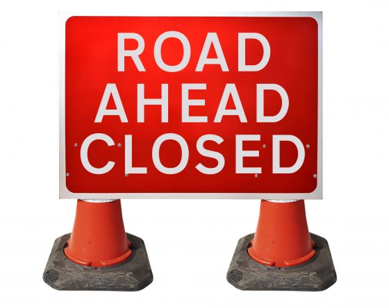 1050x750mm Cone Sign - Road Ahead Closed - 7010.1