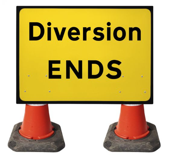 1050x750mm Cone Sign - Diversion Ends - 2702