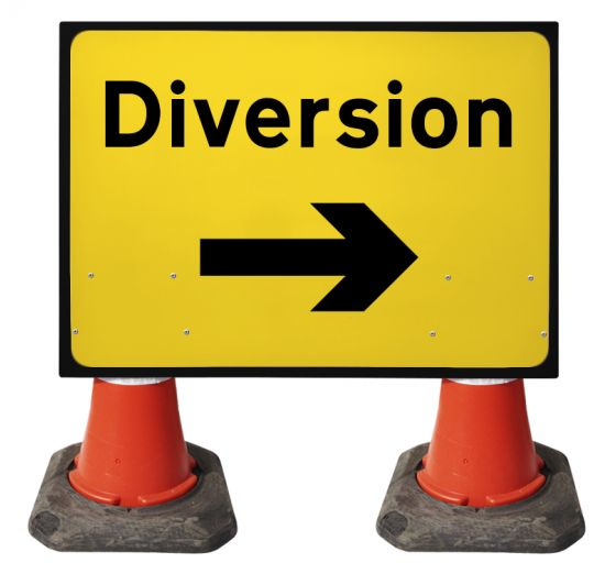 1050x750mm Cone Sign - Diversion Arrow Right - 2702