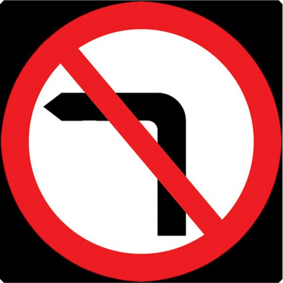 750mm No Left Turn - 613