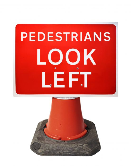 600x450mm Cone Sign - Pedestrians Look Left - 7017