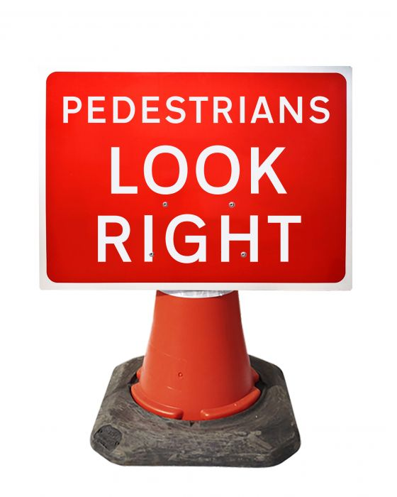 600x450mm Cone Sign - Pedestrians Look Right - 7017