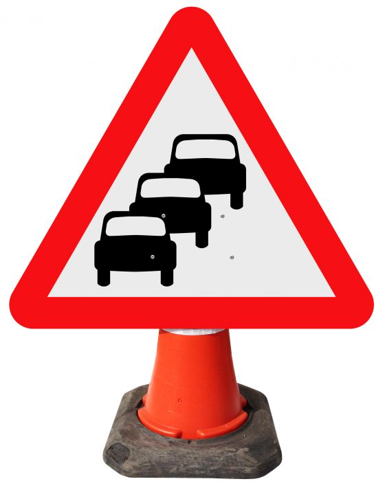 Triangle Cone Sign - Traffic Queues Likely on Road Ahead - 584