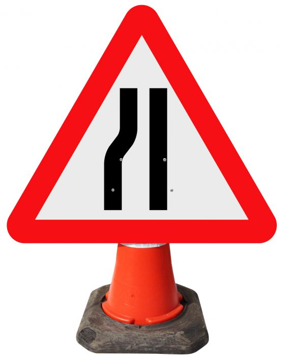 Triangle Cone Sign - Road Narrows on Left Ahead - 517