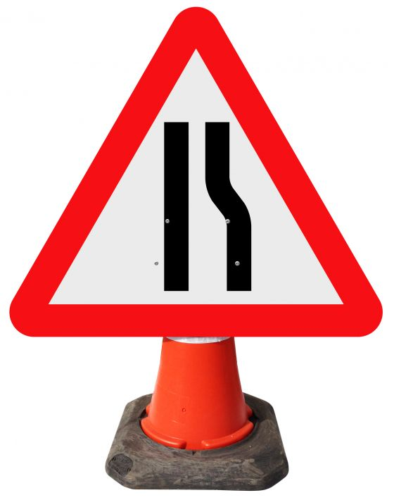 Triangle Cone Sign - Road Narrows Right - 517