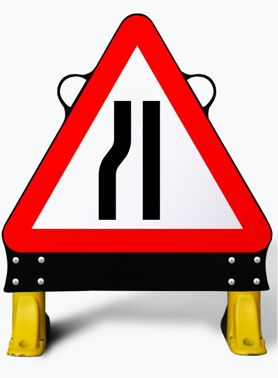 750mm Road Narrows Left X-Sign