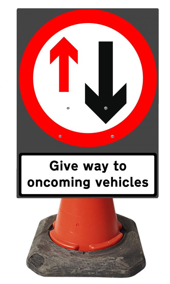 560x750mm Cone Sign - Give Way & supp Give Way to Oncoming Vehicles - 615