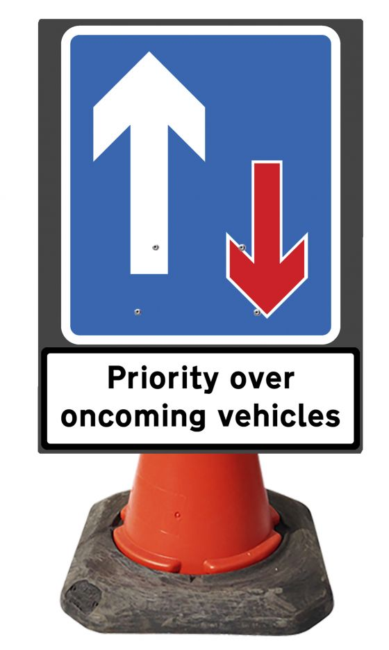 560mmx750mm Cone Sign - Priority 811 & supp Priority Over Oncoming Vehicles - 811